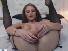 Beautiful girl masturbates pussy and anal same time on webcam