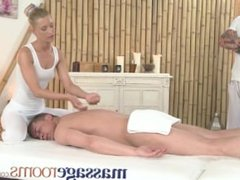 Massage Rooms Horny blonde masseuse gets fucked by two big meaty cocks
