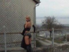 Monique Vegas smoking in black leather 2