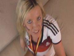 Hot german Blonde celebrating the Title!