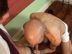 Crazy mature teacher blowjobs his twink student