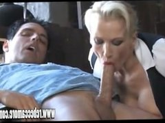 Posh blonde slut rides hunky stable boys big cock till cumshot on ass