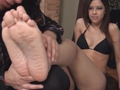 indian girl worships another girl feet