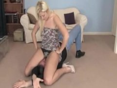 submissive guy owned by a gorgeous blonde p1