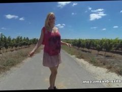 Flashing and nude on a country road