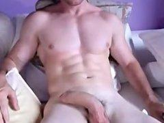 Masked guy jacks his big cock