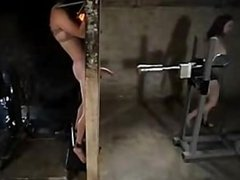 Handjob with fleshlight machine for bounded male
