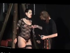 Amateur subbie is tied to an A Frame and then spanked by her Master