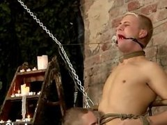 Gay movie Restrained and unable to refuse, Deacon is made to get hard,