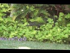 Hunk latino Gardener Caught on Spy Cam