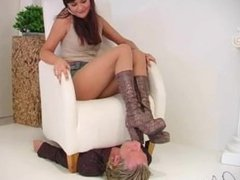 German girl dominate guy with her feet