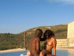 Exotic Ebony Couple Outdoors Loving