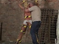 Gay cock He's trussed up to the cross in just his undergarments when the