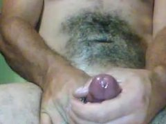 Huge cumshot, oiled up, cock ring and blow job toy