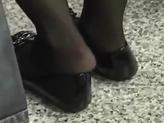 Candid Shoeplay Feet Black Nylons at Airport