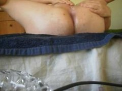 Having fun with a cucumber in my ass and cumming in my own mouth