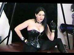 Leather Gloves Domme Smokes and Gives You Jerkoff Commands