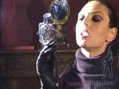 Leather Gloved Domme Smoking