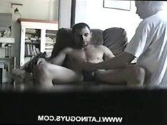 creepy gay white man sucks buff str8 latino boy's big cock