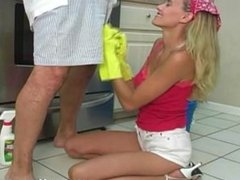 blowjob with rubber gloves