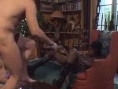 French black teen joins a threesome - shy, curious, then fucks with gusto!