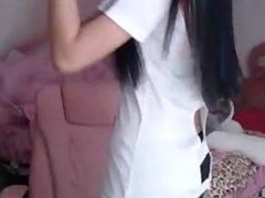 Beautiful asian dance on webcam