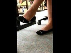 Amazing babe shoe dangling shoe play