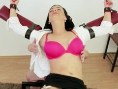 Brunette restrained and tickled