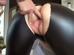 Hot german babe in wetlook leggingsgets fucked from behind