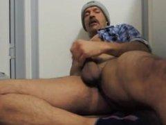 Daddy bearded macho hunk super hot jerking