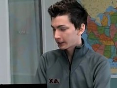 Twink sex Teacher is sitting at his desk looking so good. The student
