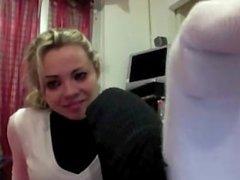 Blonde Italian Girl white socks smelling