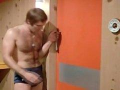 Hot retro celebrity Michael Billington in sauna