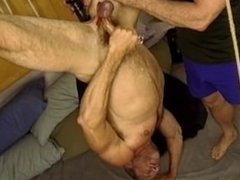 BenGay rubbed on muscle dude's balls and dildo shoved up his ass.