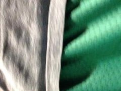 messing around with my green shorts' bulge