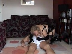 Amazing lady in gloves and boots fucks and sucks with fun.