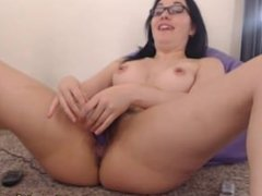 Horny Girl Masturbates Hairy Pussy on Webcam