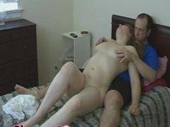 Teen brunette amateur gets ass spanked