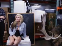 Blond and brunette teen pawn shop fuck