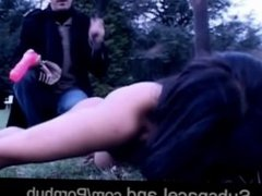 Fleshy brunette slave rough exploited outside in cold weather