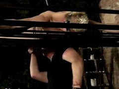 Gay guys Master Kane has a new toy, a iron bed frame stringing up from