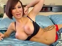 Erotic hot brunette spreads her pussy wide