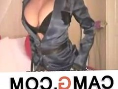 Sexy blonde in police costume live on webcam