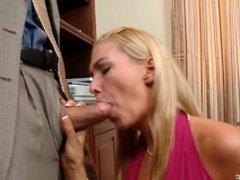 Blonde Blake Rose ride anally a big cock
