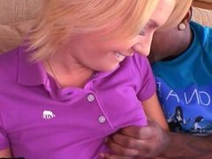 Blonde secratary get fucked at work by black guy 10