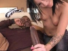 Brunette college girl riding the black mamba 06