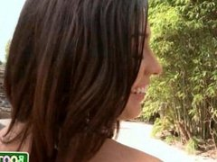 Sexy brunette latina with big tits fucks outside by pool 10