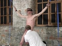 Naked guys With his fragile testicles tugged and his spear jerked and