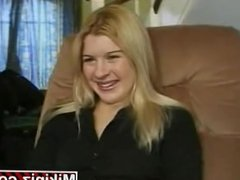 British Blonde Teen Rebekah gets a threesome and DP Vaginal in heels!