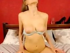 Tall & sexy blonde fucks herself intensely